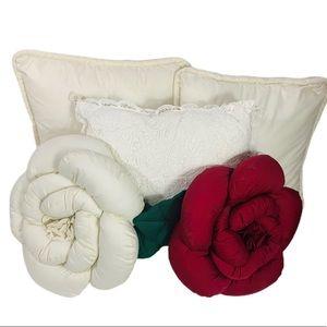 Vintage Decor Pillow Bundle 3 square 2 flower ones